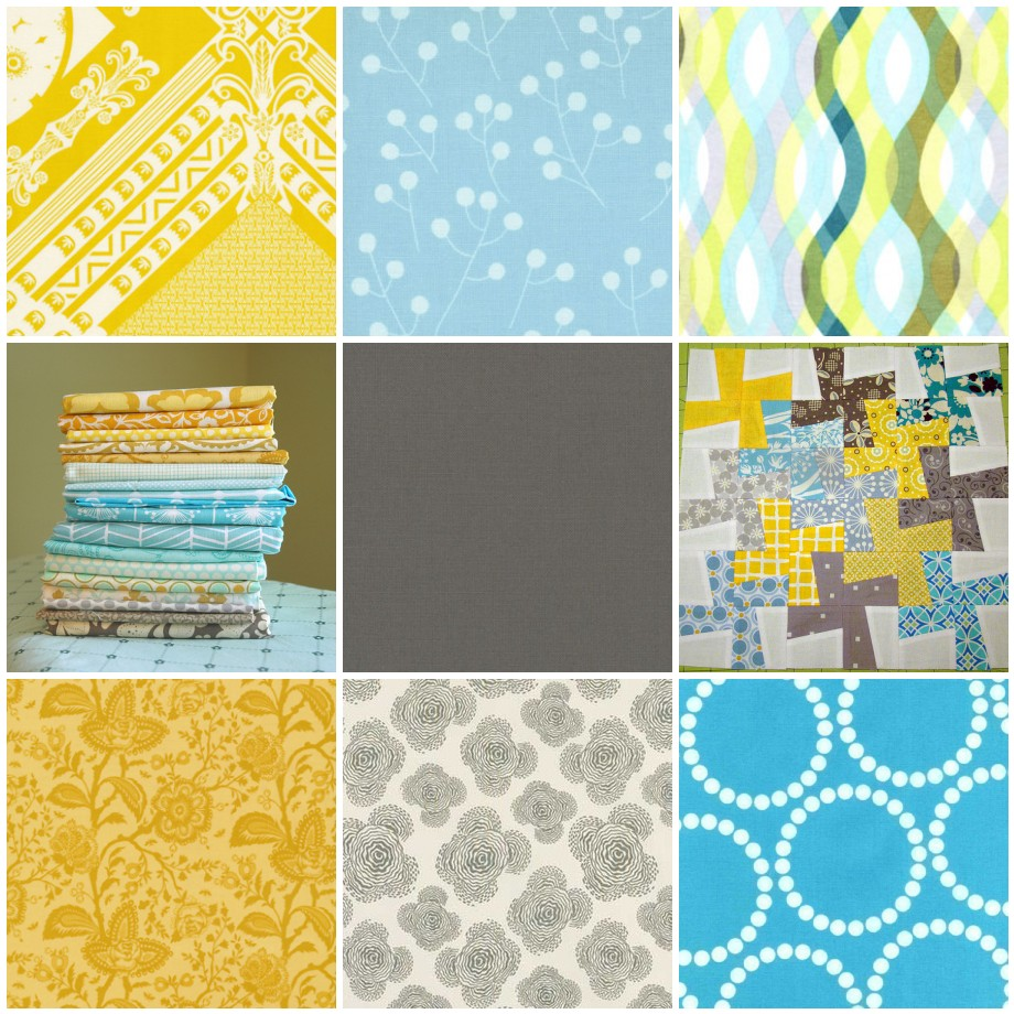 Mosaic Aqua Yellow Gray