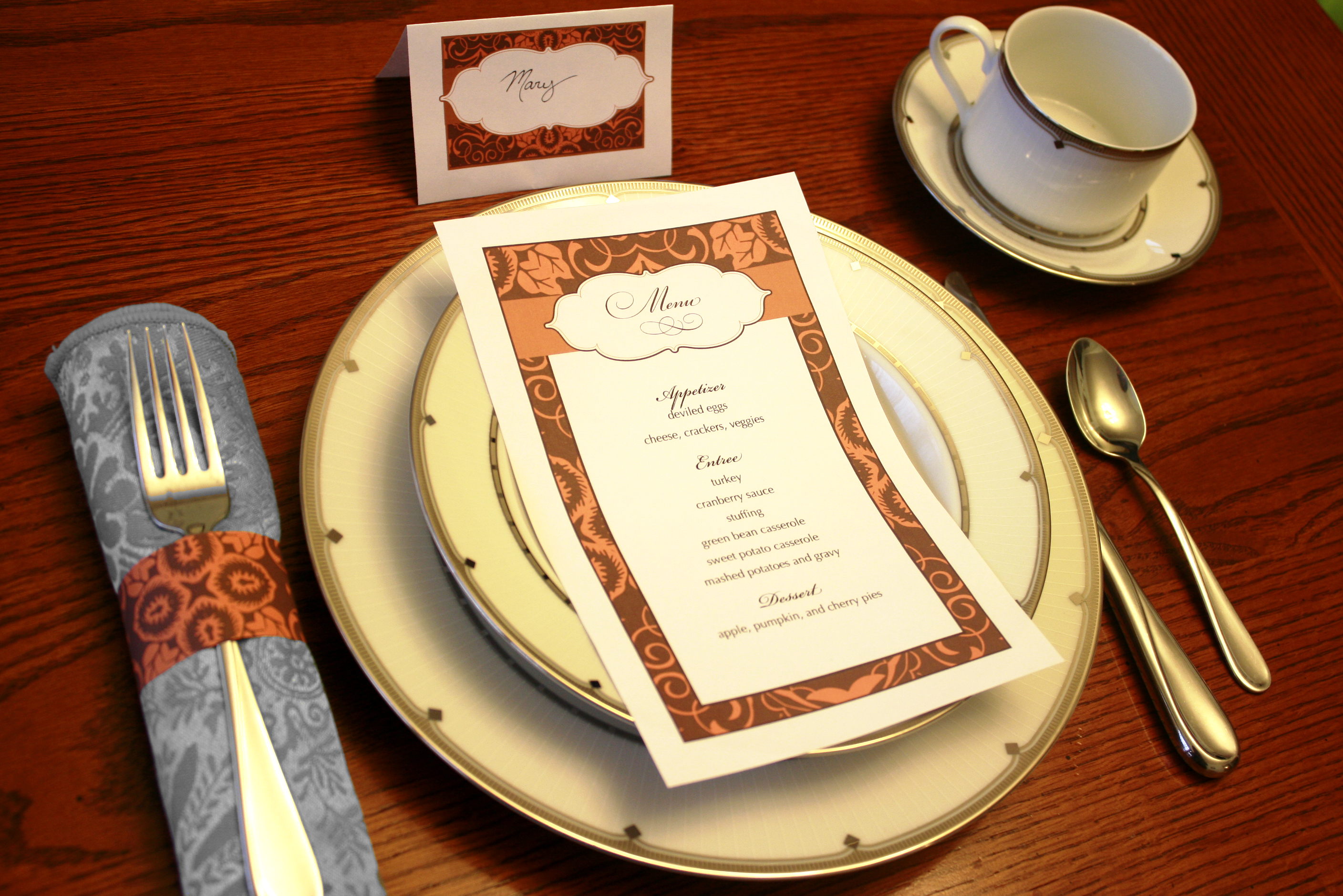 thanksgiving place setting printables craft buds. Black Bedroom Furniture Sets. Home Design Ideas