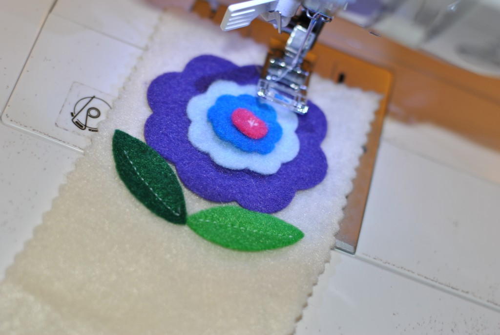 Stitch felt flower and leaves