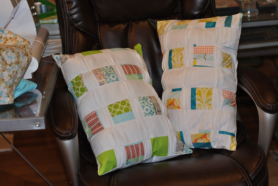 Pleated Boxes Pillows on Chair