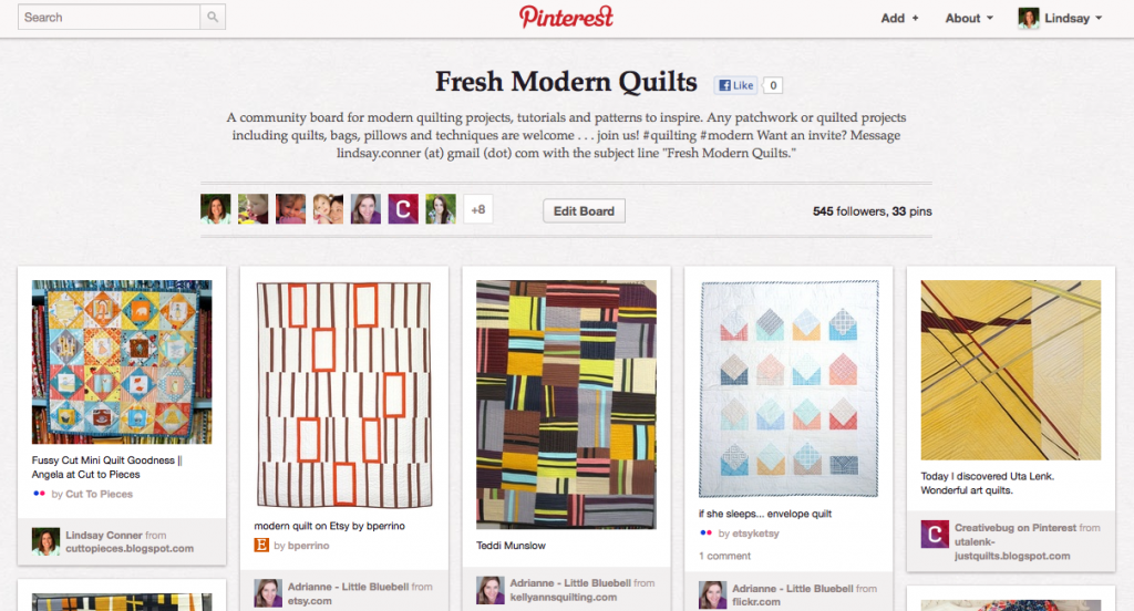 Pinterest Community Board Quilting