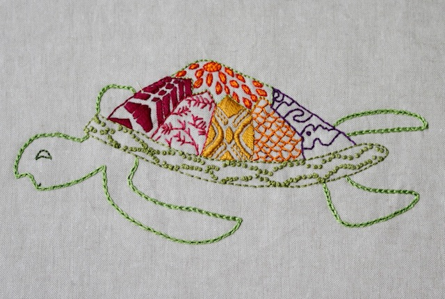 Turtle Embroidery by Alison Glass