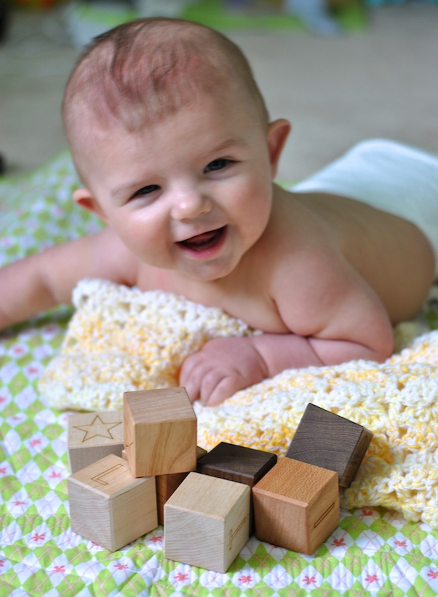 Elliot and Personalized Wooden Blocks