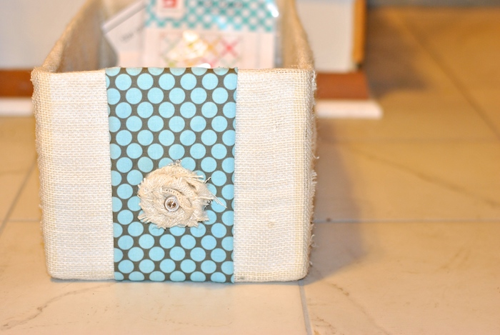 Fabric storage box made from diaper box
