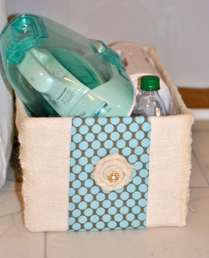 Fabric storage boxes make a burlap covered diaper box for Fabric covered boxes craft