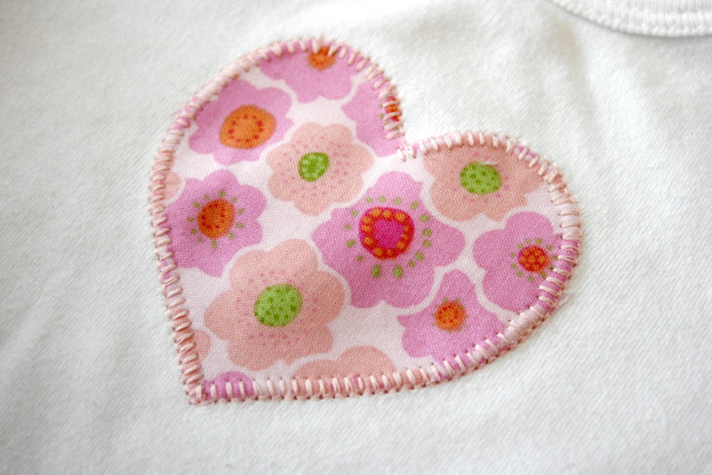 Onesie with Heart Applique
