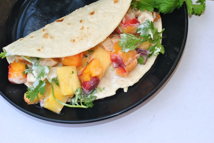 Crockpot Chicken Tacos with Peach Pineapple Salsa | Craft Buds