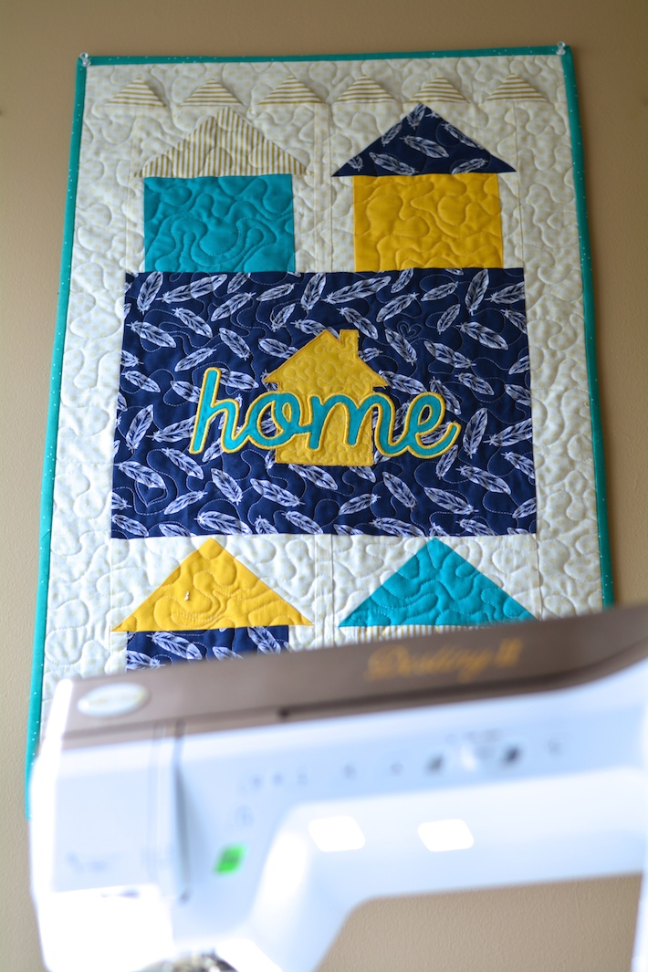 Baby Lock Destiny II and Home Sweet Home mini quilt