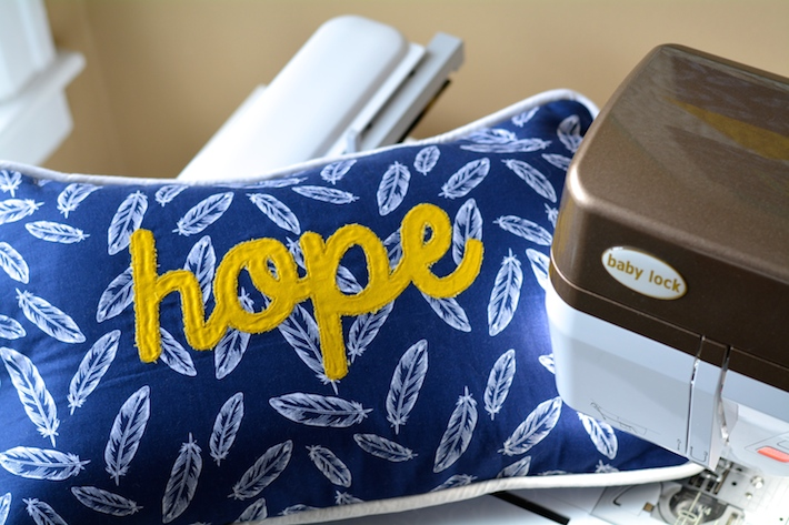 Hope Applique Throw Pillow