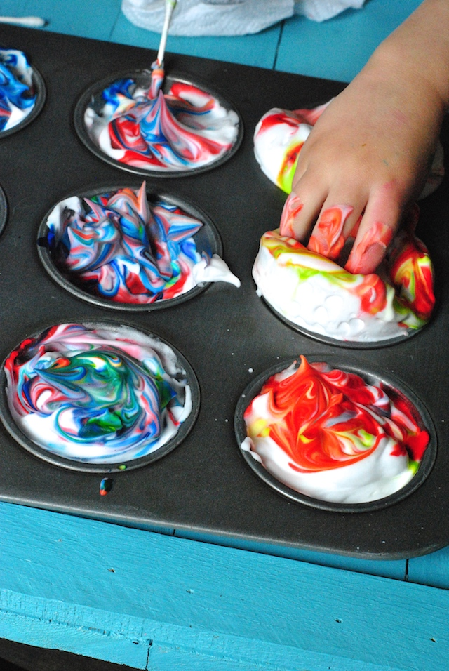Fill each muffin tin cup with shaving cream and smooth it out with the back of a spoon. You can also use Cool Whip and traditional Easter egg dye if you prefer. Anna De Souza.